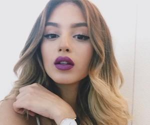 blonde, eyeliner, and lips image