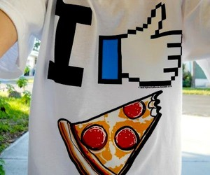 pizza, like, and t-shirt image