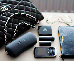 bag, makeup, and blackberry image