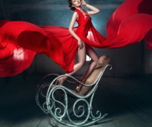 chair, woman, and dress image