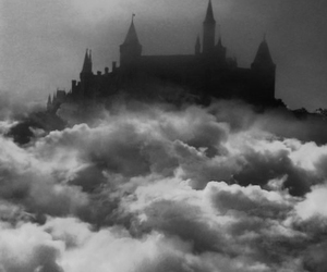 castle, clouds, and black and white image
