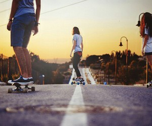 skate, friends, and skateboard image