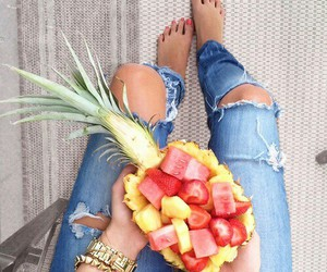 fruit, jeans, and food image
