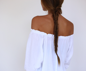 white top and shoulder blouse image
