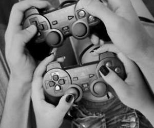 black and white, boy, and game image