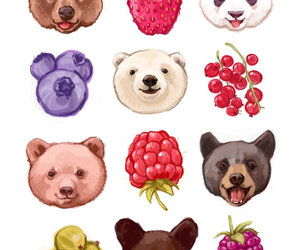 bear, berries, and strawberry image