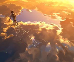 anime, sky, and boy image