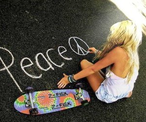 peace, girl, and skate image