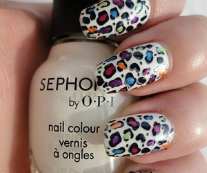 leopard, nails, and rainbow image