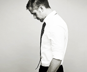 ryan gosling, black and white, and Hot image