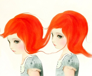 red hair, art, and illustration image