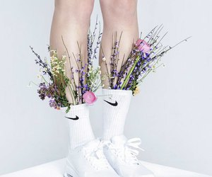 white, flowers, and nike image