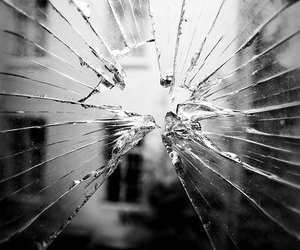 black and white, glass, and shattered glass image