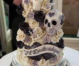 cake, skull, and wedding image