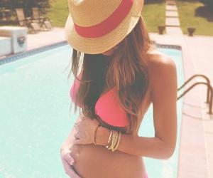 pregnant, baby, and bikini image