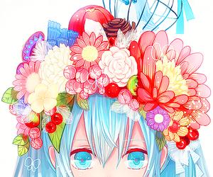anime, flowers, and hatsune miku image