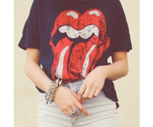 outfit, rolling stones, and shorts image