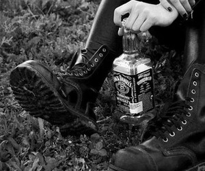 black and white, boots, and drink image