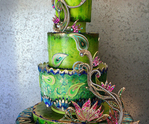 cake, peacock, and food image