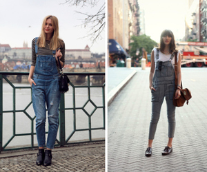 dungarees, girl, and street style image