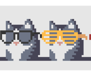 cats, glasses, and pixel art image