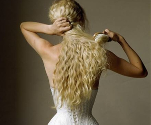 hair, blonde, and corset image