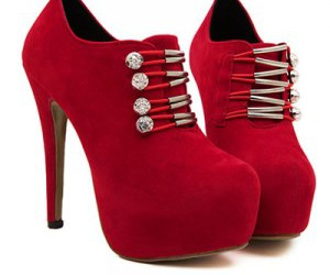 booties, high heel, and red image