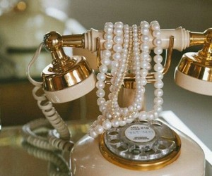 vintage, pearls, and telephone image
