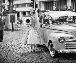 wedding, 50s, and black and white image