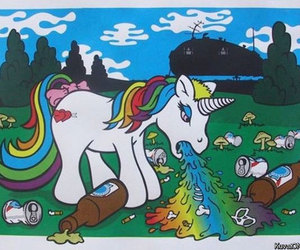 unicorn, rainbow, and pony image