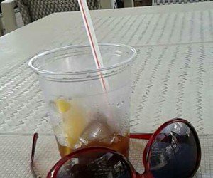 beach, diet coke, and sun glases image