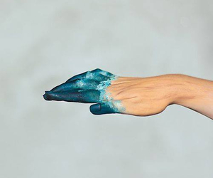blue, hand, and art image