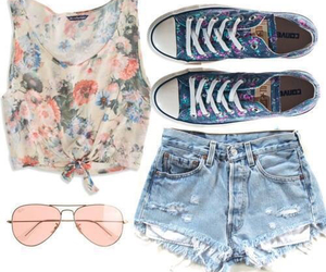 outfit, flowers, and converse image