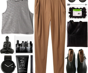 budda, outfit, and striped top image