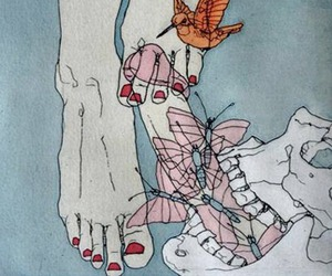 butterfly, feet, and wallpaper image