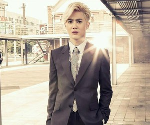 blonde, handsome, and suho image