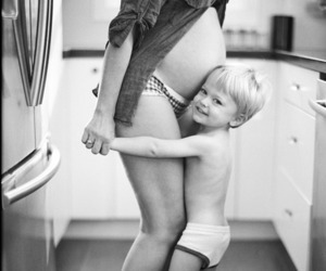 black and white, mommy, and child image