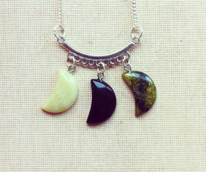 handmade necklace, moon necklace, and boho necklace image