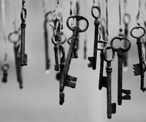 key, black and white, and vintage image