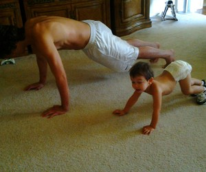 family, push ups, and son image