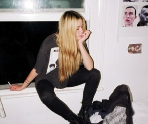 blonde, cigarette, and combat boots image