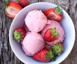 strawberry, ice cream, and food image