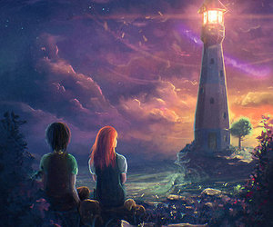 art, moon, and lighthouse image