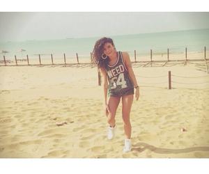 beach, beautiful, and black hair image