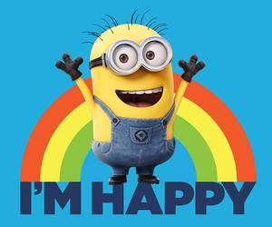 minions, happy, and rainbow image