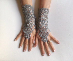 bridal, gloves, and gothic image