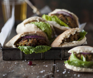 burger, pita, and pork image