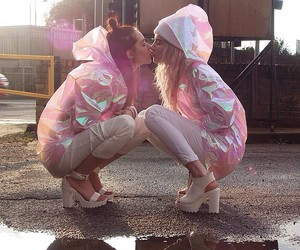 lesbian, pink, and kiss image