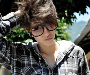 boy, piercing, and glasses image