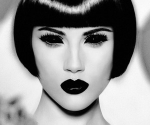 black and white, black lipstick, and girl image